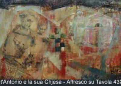 santantonio e la sua chiesa affresco su tavola 43x79