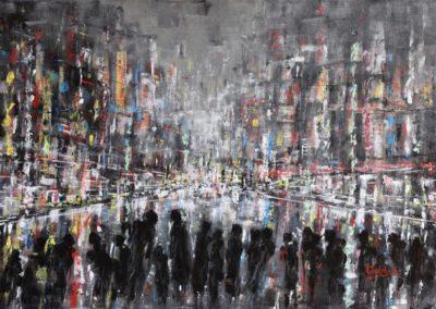tokyo tra ombre e luci acrilico su tela 70x100