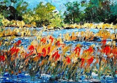 tra fiume e paesaggio acrilico su mdf 116x65