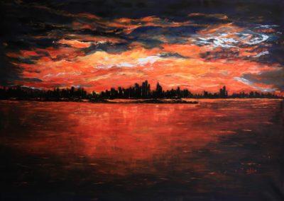 tramonto a new york acrilico su tea 188x128