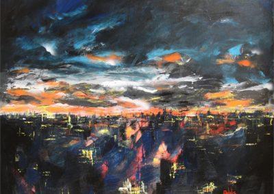 tramonto sulla citta acrilico su tela 100x100