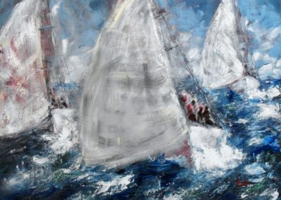 trasportati dal vento in barca a vela acrilico su tela 80x100