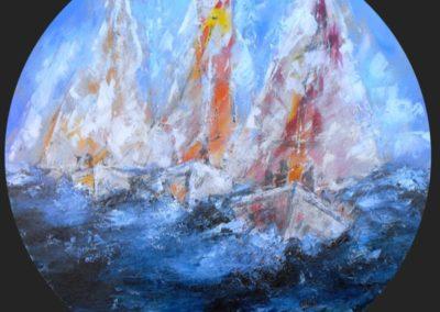 vacanze in barca a vela acrilico su mdf circolare cm 100