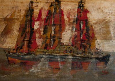 vela sul mare - acrilico su mdf 110x70