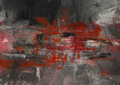 visione rossa acrilico su tela 150x120